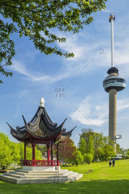 April 22, 2019: Euromast television tower, Architect Huig Maaskant, Chinese pavillon, Het Park, Rotterdam, South Holland, Netherlands, Europe