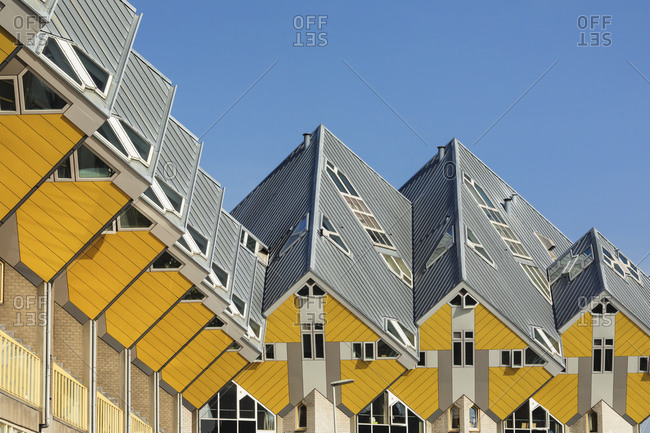 April 22, 2019: Cubic houses, Architect Piet Blom, Rotterdam, South Holland, Netherlands, Europe