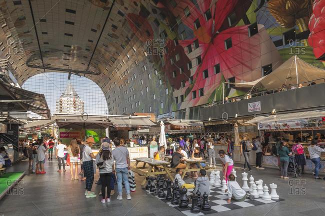 April 22, 2019: Markthal, New Market Hall, Rotterdam, South Holland, Netherlands, Europe