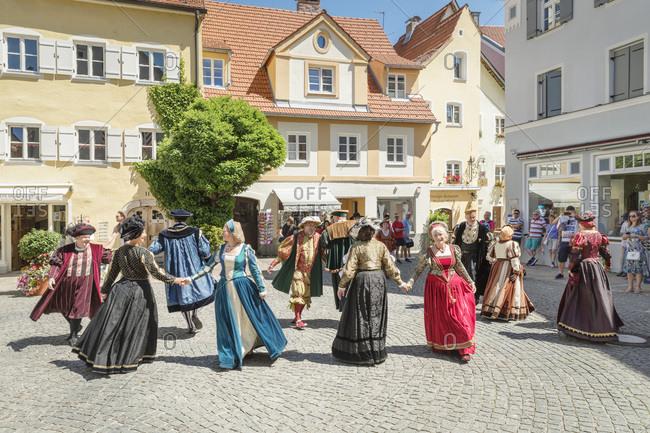 June 29, 2019: Patrician Dances in the old town, Fussen, Allgau, Schwaben, Bavaria, Germany, Europe