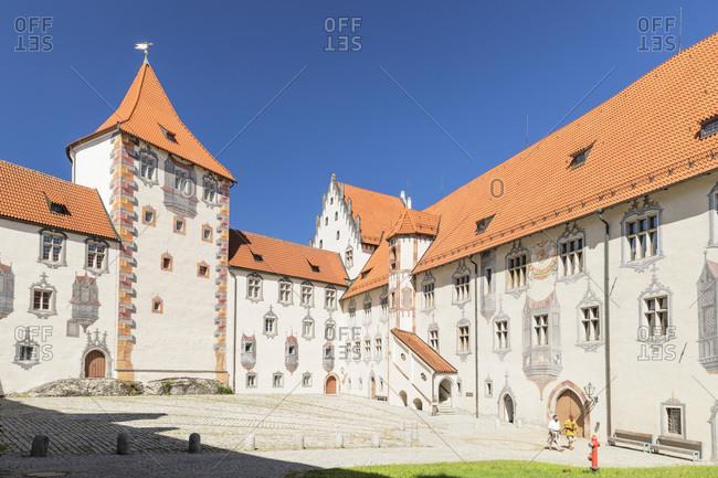 June 29, 2019: Hohes Schloss Castle, Fussen, Allgau, Schwaben, Bavaria, Germany, Europe