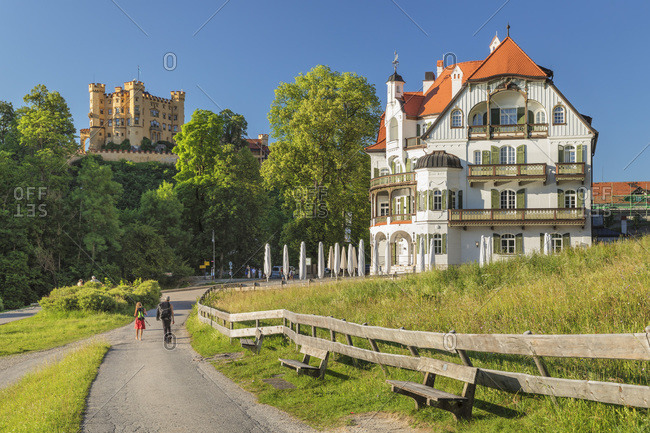 June 29, 2019: Hohenschwangau Castle and Alpenrose Hotel, Schwangau, Allgau, Schwaben, Bavaria, Germany, Europe