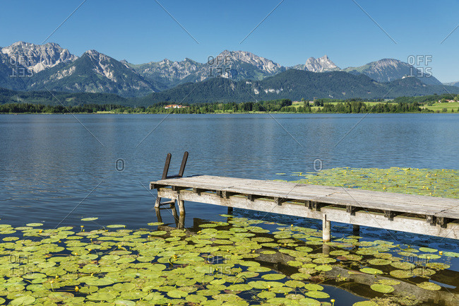 Jetty at Hopfensee lake, Hopfen am See, Allgau Alps, Allgau, Schwaben, Bavaria, Germany, Europe