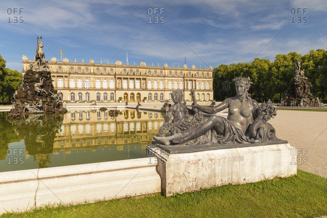 June 25, 2019: Herrenchiemsee Palace on Herreninsel Island in Lake Chiemsee, Chiemgau, Upper Bavaria, Germany, Europe