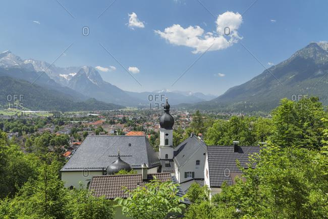 View from Pilgrimage Church St. Anton to Kramer Mountain, Bavarian Alps, Garmisch-Partenkirchen, Werdenfelser Land, Upper Bavaria, Germany, Europe
