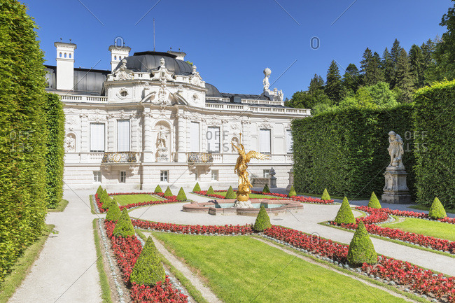 June 28, 2019: Western Parterre, Linderhof Palace, Werdenfelser Land, Bavarian Alps, Upper Bavaria, Germany, Europe