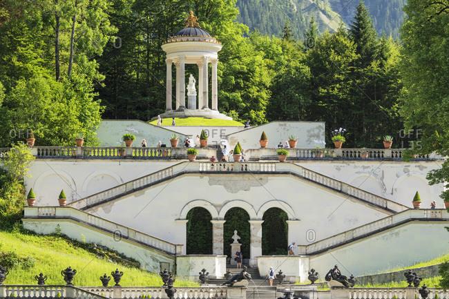 June 28, 2019: Stairs to Venus Temple, Linderhof Palace, Werdenfelser Land, Bavarian Alps, Upper Bavaria, Germany, Europe
