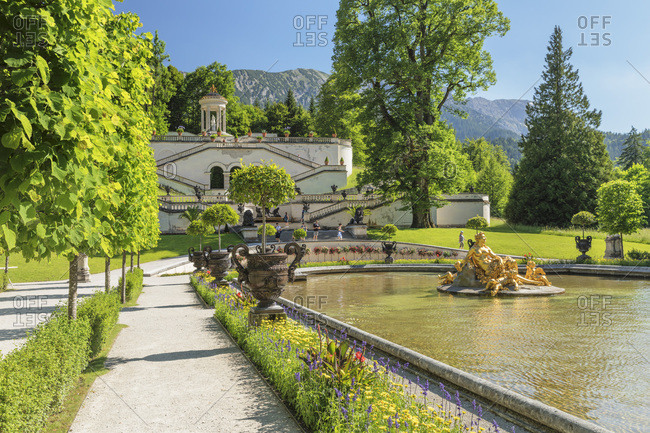 June 28, 2019: Water Parterre and stairs to Venus Temple, Linderhof Palace, Werdenfelser Land, Bavarian Alps, Upper Bavaria, Germany, Europe