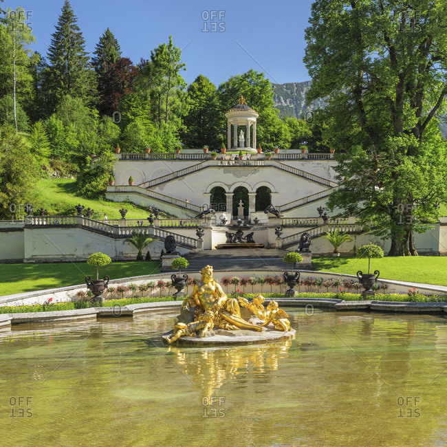 June 28, 2019: Water Parterre with Flora Fountain, view to Venus Temple, Linderhof Palace, Werdenfelser Land, Bavarian Alps, Upper Bavaria, Germany, Europe