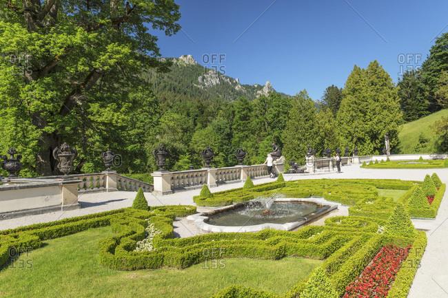 June 28, 2019: Palace garden, Linderhof Palace, Werdenfelser Land, Bavarian Alps, Upper Bavaria, Germany, Europe