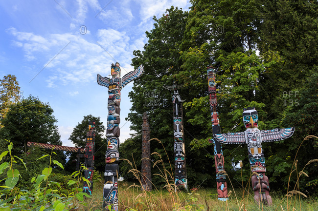 September 10, 2017: First Nation Totem Poles, Brockton Point, Stanley Park, autumn, Vancouver City, British Columbia, Canada, North America