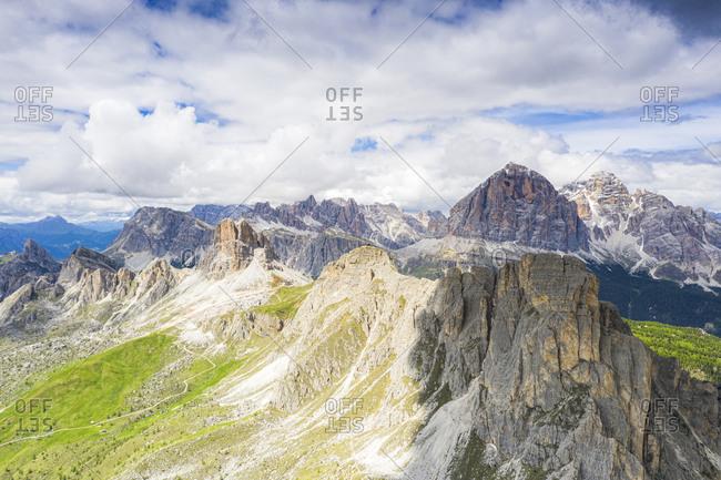 Aerial view of Giau Pass, Ra Gusela, Nuvolau, Averau and Tofane mountains, Dolomites, Belluno province, Veneto, Italy, Europe