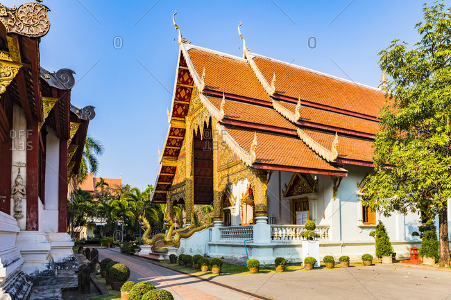 February 22, 2018: Wat Phra Singh (Gold Temple) at night, Chiang Mai, Northern Thailand, Thailand, Southeast Asia, Asia