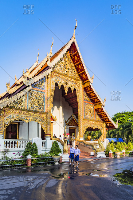 February 23, 2018: Wat Phra Singh (Gold Temple) at night, Chiang Mai, Northern Thailand, Thailand, Southeast Asia, Asia