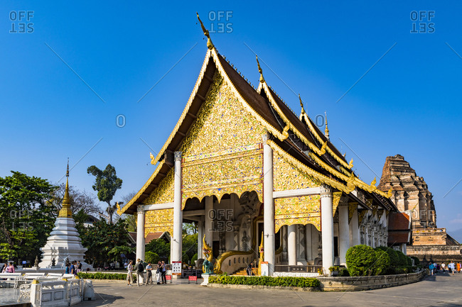 February 23, 2018: Wat Chedi Luang, Chiang Mai, Northern Thailand, Thailand, Southeast Asia, Asia
