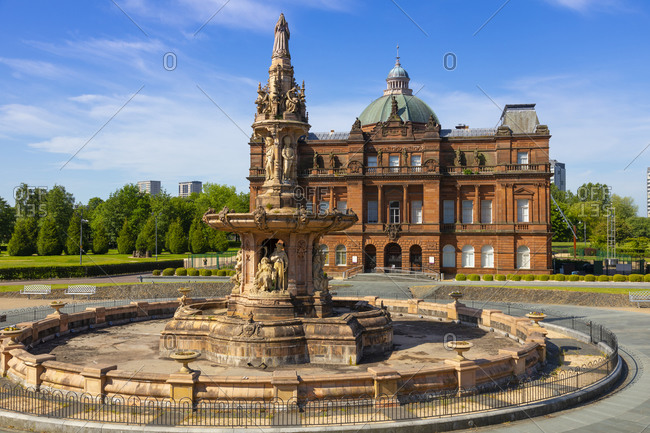 May 30, 2020: People's Palace and Doulton Fountain, Glasgow Green, Glasgow, Scotland, United Kingdom, Europe