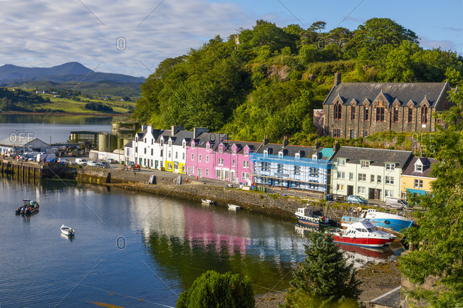 July 9, 2020: Portree Harbor, Isle of Skye, Inner Hebrides, Highlands and Islands, Scotland, United Kingdom, Europe