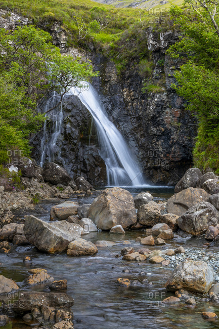 Waterfall at Fairy Pools, Glen Brittle, Isle of Skye, Inner Hebrides, Highlands and Islands, Scotland, United Kingdom, Europe
