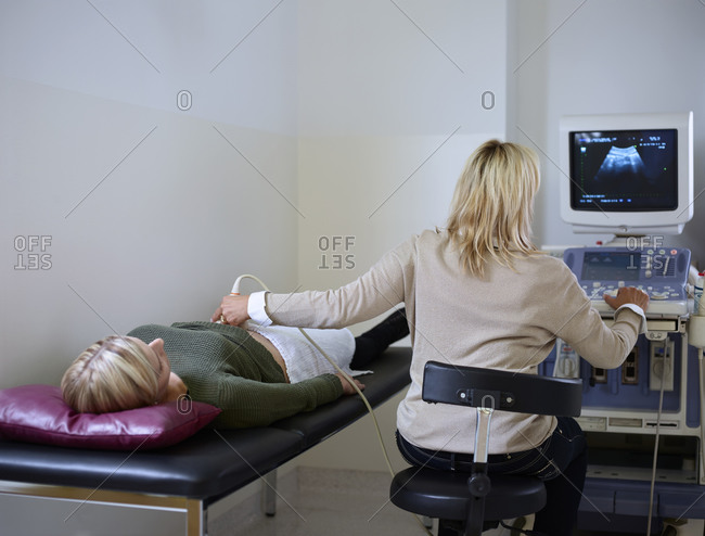 Woman in hospital getting sonogram