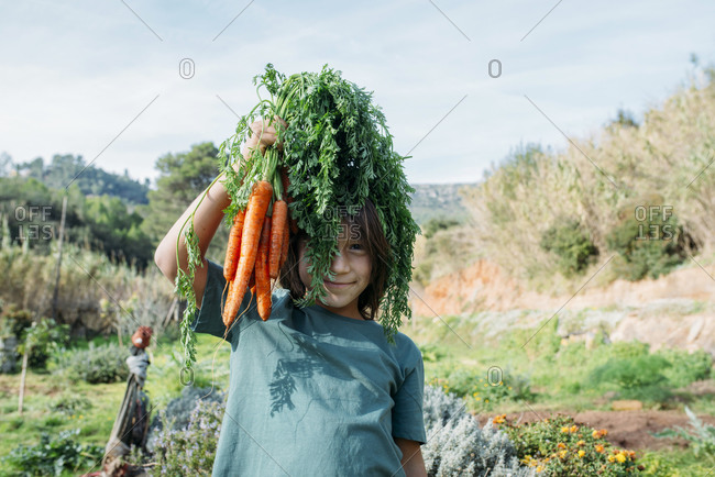 Boy standing in vegetable garden- holding a bunch of carrots