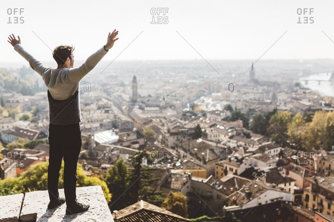 Italy- Verona- tourist standing at observation point