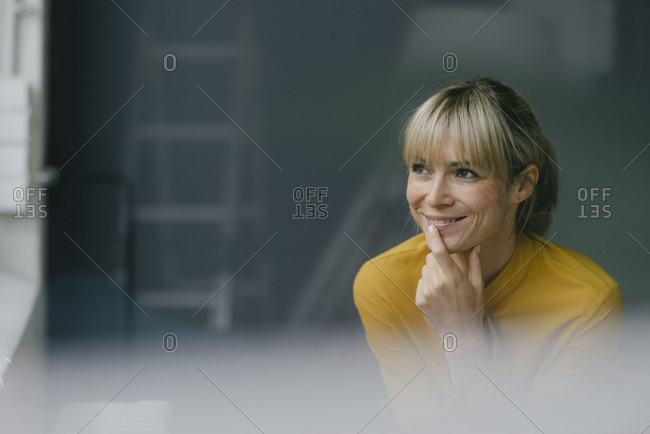 Portrait of a beautiful blond woman- smiling