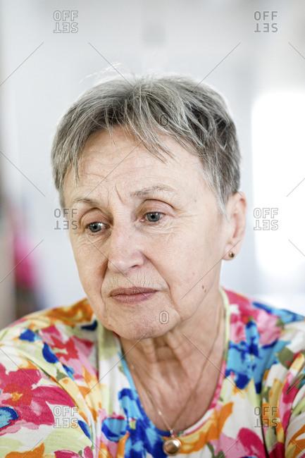 Portrait of a serious senior woman