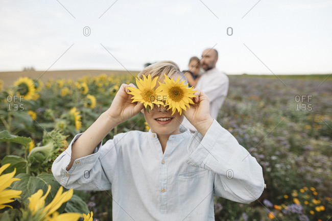 Playful boy covering his eyes with sunflowers in a field with family in background