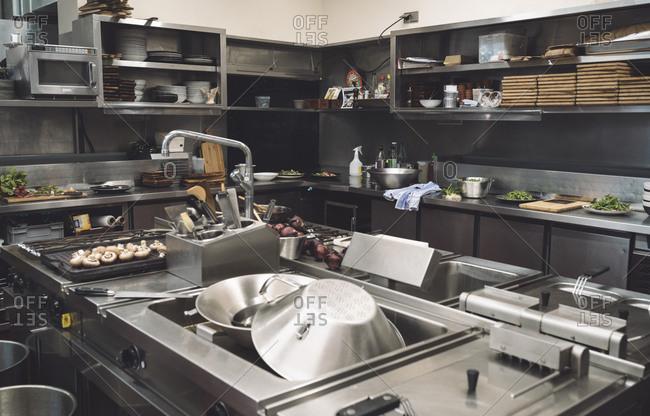 Commercial kitchen in modern restaurant