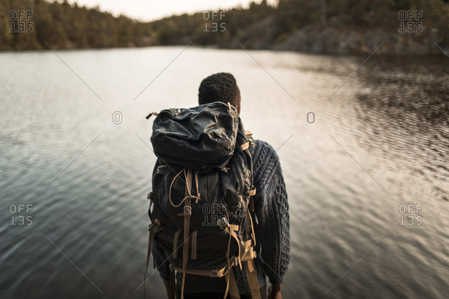 Rear view of man with backpack against lake in forest
