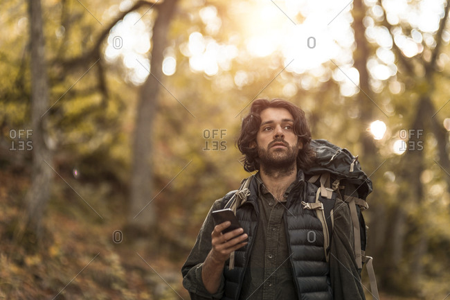 Contemplating man using smart phone while looking away in forest