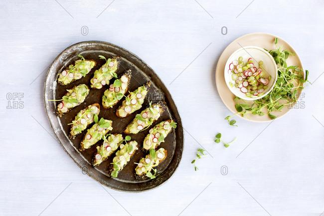 Overhead view of radish fennel manchego crostini with fresh pea pesto on a tray