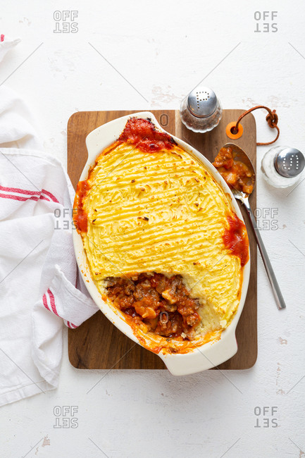 Top view of Shepherd's pie in an oval dish
