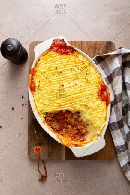 Overhead view of cottage pie with potato