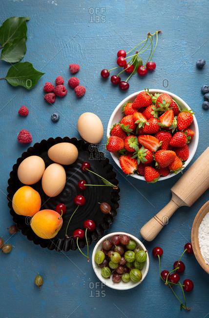 Overhead view of summer berries tart ingredients