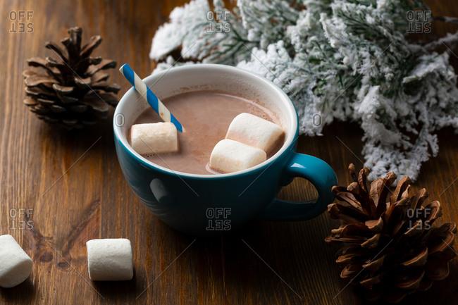 Hot chocolate in a blue mug