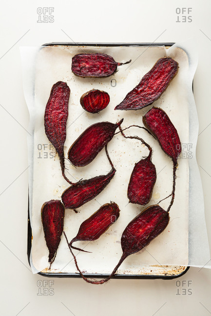Roasted beets on baking sheet