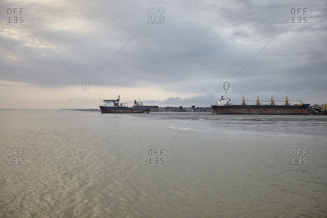 Large ships at the Chittagong Ship Breaking Yards in Chittagong, Bangladesh