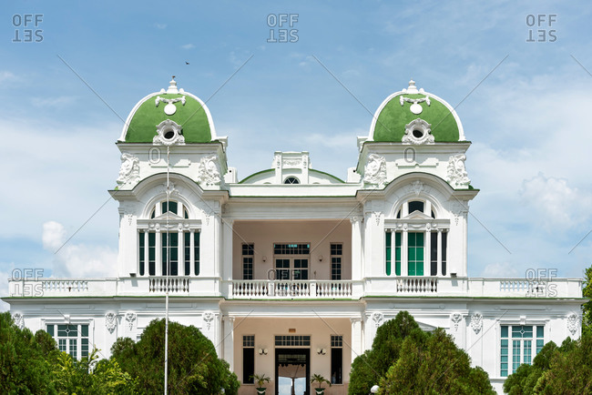 August 28, 2019: Neoclassical colonial architecture. Cienfuegos, Cuba