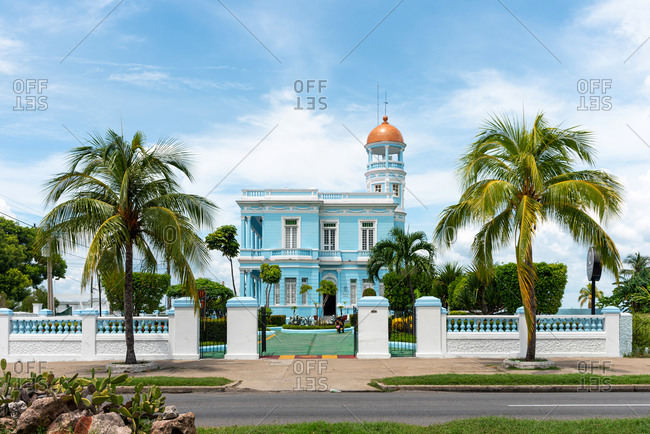 August 28, 2019: Blue Palace, a sample of Neoclassical colonial architecture. Cienfuegos, Cuba