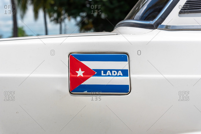 August 28, 2019: Lada car brand sticker with Cuban flag. Cienfuegos, Cuba