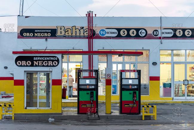 August 28, 2019: Black Gold petrol station car service. Cienfuegos, Cuba