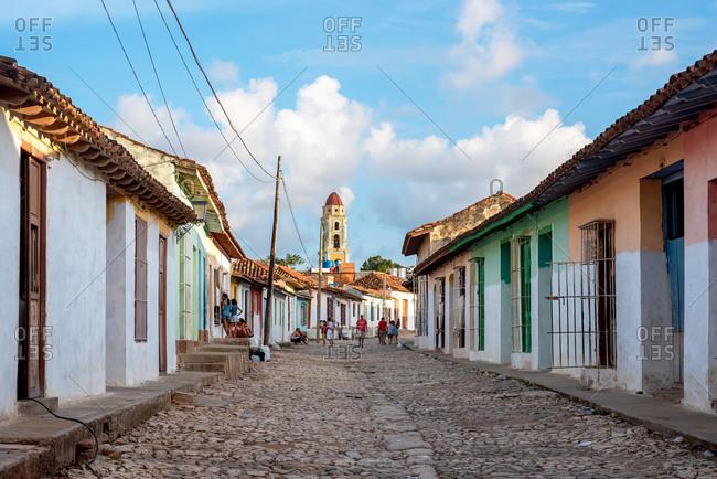 August 24, 2019: Colonial architecture along the cobblestone streets of Trinidad. Trinidad, Cuba