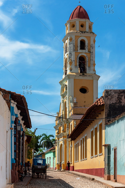 August 24, 2019: Colonial architecture along the cobblestone streets of Trinidad. Trinidad, Cuba