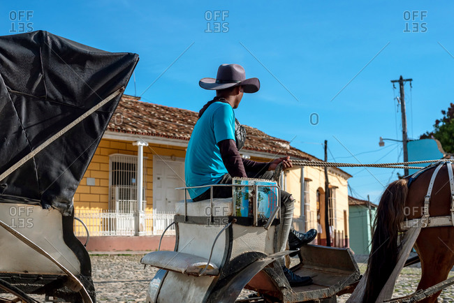 "August 24, 2019: Horse carriage in Main Square called ""Plaza Mayor"". Trinidad, Cuba"