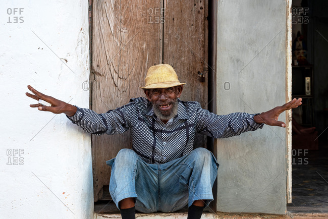 August 24, 2019: Cuban man smiling friendly. Trinidad, Cuba