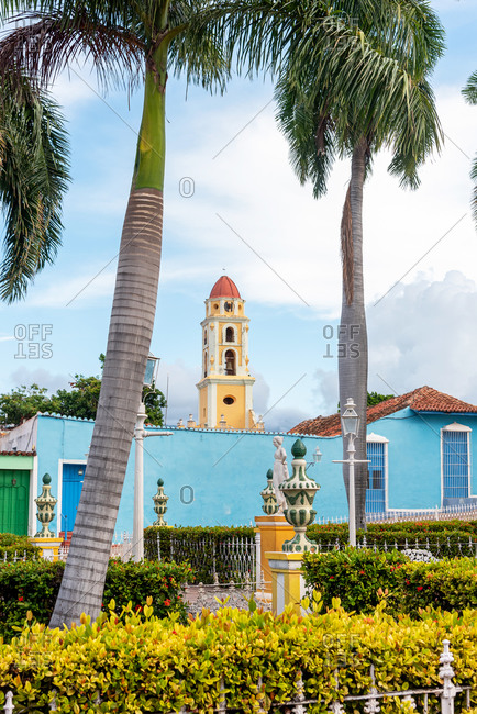 "August 25, 2019: The main square, called ""Plaza Mayor""  in the town of Trinidad. Trinidad, Cuba"