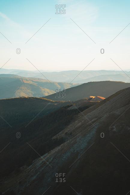 Sunset light illuminating the hills of Navarrese Pyrenees