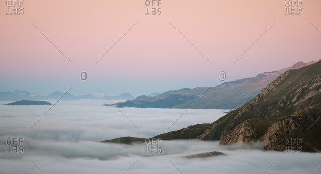 Mountains peaks showing above a cloud inversion in Pyrenees
