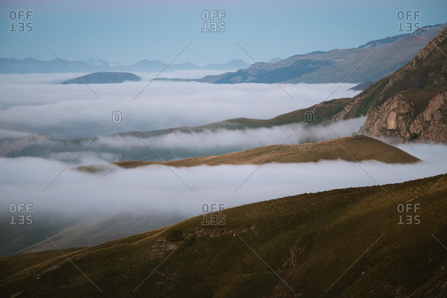 Hundreds of sheep grazing on a hill above the clouds in Pyrenees